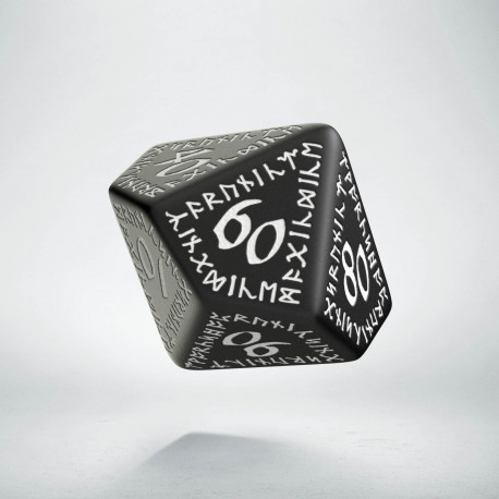 D100 Runic Black & white Die