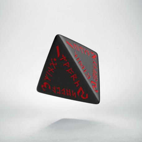 D4 Runic Black & red Die