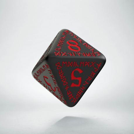 D8 Runic Black & red Die