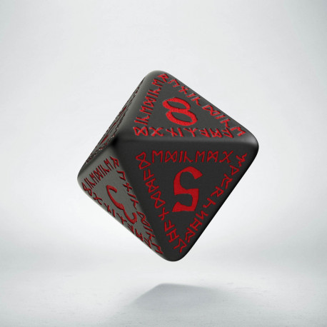 D8 Runic Black & red Die