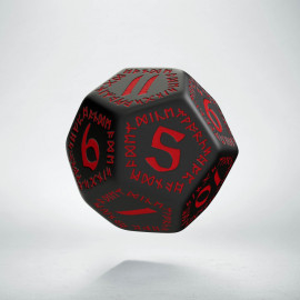 D12 Runic Black & red Die
