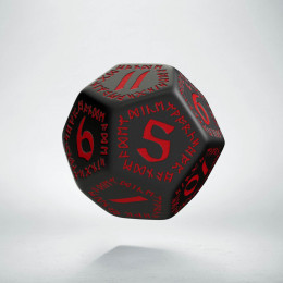 D12 Runic Black & red Die (1)