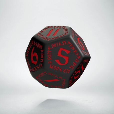 D12 Runic Black & red Die