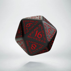 D20 Runic Black & red Die