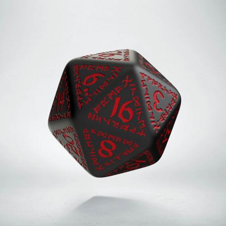 D20 Runic Black & red Die