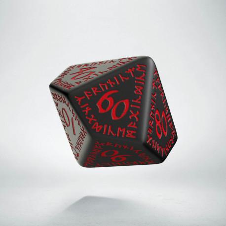 D100 Runic Black & red Die
