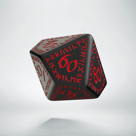 D100 Runic Black & red Die