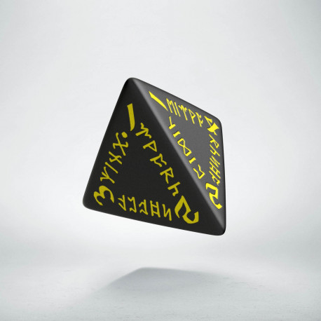D4 Runic Black & yellow Die