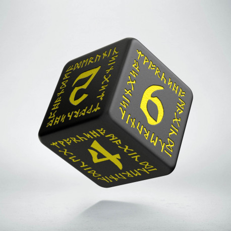 D6 Runic Black & yellow Die