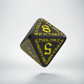 D8 Runic Black & yellow Die (1)