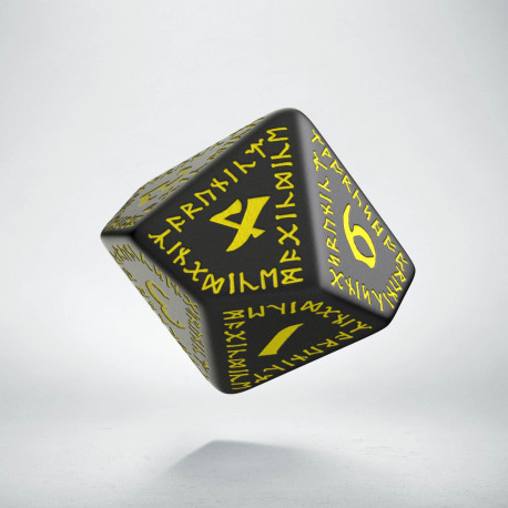 D10 Runic Black & yellow Die