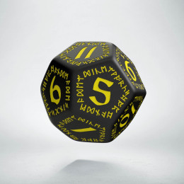 D12 Runic Black & yellow Die (1)