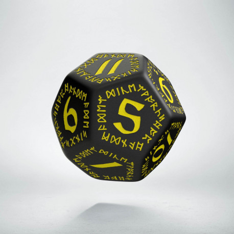 D12 Runic Black & yellow Die