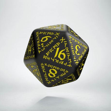 D20 Runic Black & yellow Die