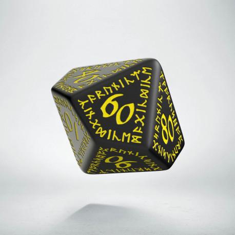 D100 Runic Black & yellow Die