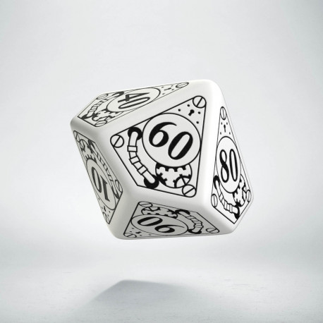 D100 Steampunk White & black Die