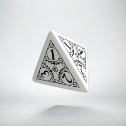 D4 Steampunk White & black Die (1)