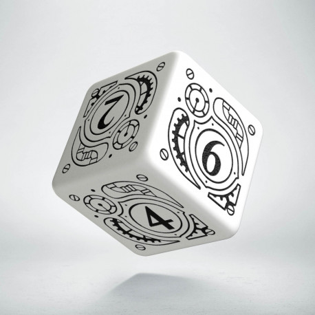 D6 Steampunk White & black Die