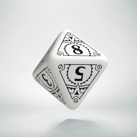 D8 Steampunk White & black Die