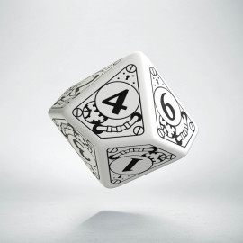 D10 Steampunk White & black Die