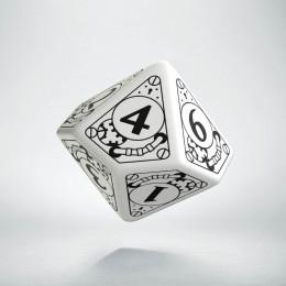 D10 Steampunk White & black Die (1)
