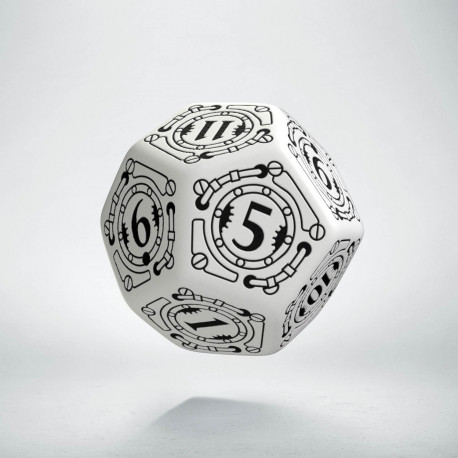 D12 Steampunk White & black Die