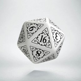 D20 Steampunk White & black Die (1)