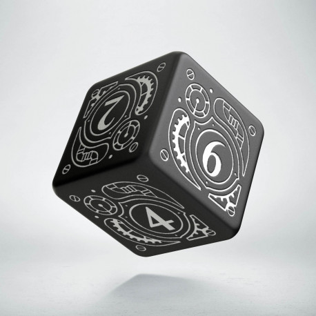 D6 Steampunk Black & white Die