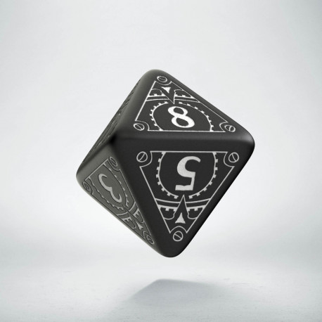 D8 Steampunk Black & white Die