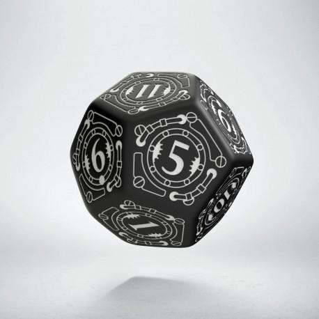 D12 Steampunk Black & white Die