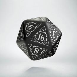 D20 Steampunk Black & white Die (1)