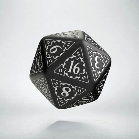 D20 Steampunk Black & white Die