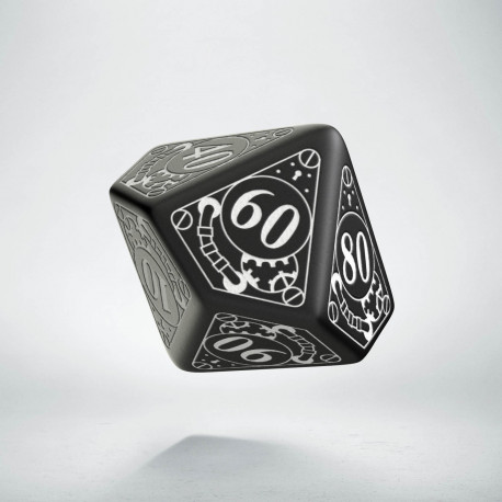 D100 Steampunk Black & white Die