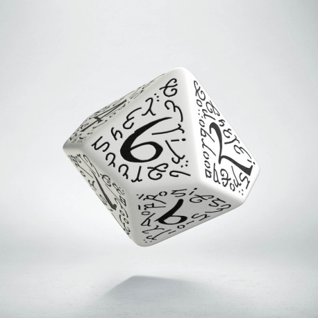 D100 Elvish White & black Die