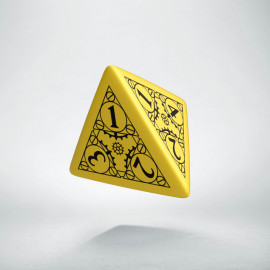 D4 Steampunk Yellow & black Die