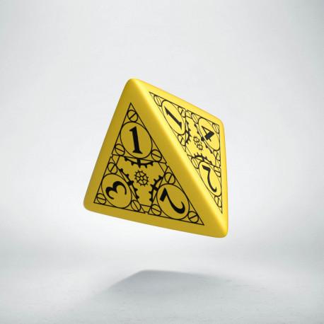 D4 Steampunk Yellow & black Die