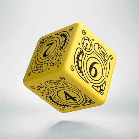 D6 Steampunk Yellow & black Die