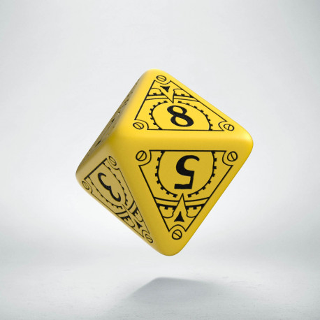 D8 Steampunk Yellow & black Die