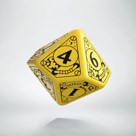 D10 Steampunk Yellow & black Die