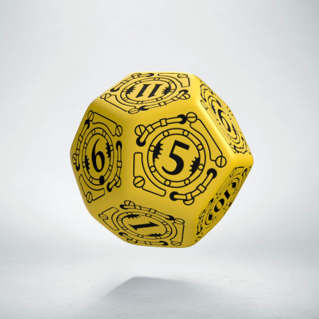 D12 Steampunk Yellow & black Die