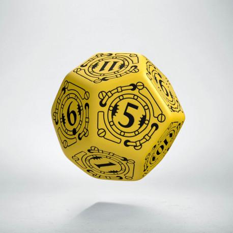 D12 Steampunk Yellow & black Die