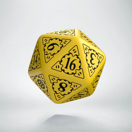 D20 Steampunk Yellow & black Die