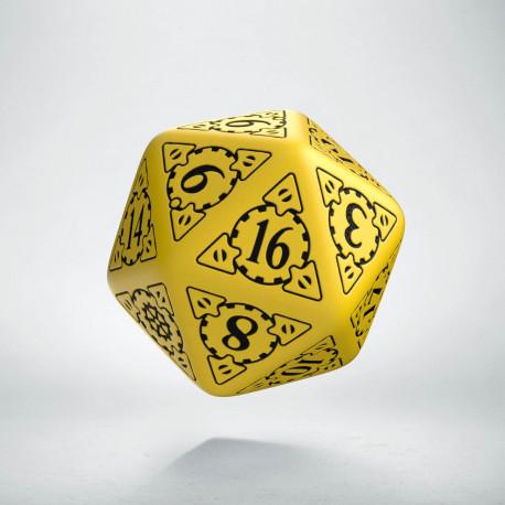 D20 Steampunk Yellow & black Die