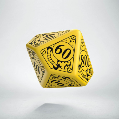 D100 Steampunk Yellow & black Die