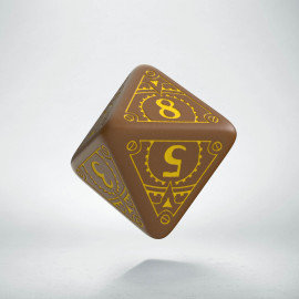 D8 Steampunk Brown & yellow Die (1)