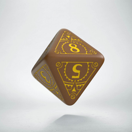 D8 Steampunk Brown & yellow Die