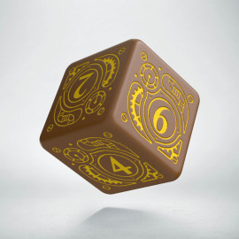 D6 Steampunk Brown & yellow Die (1)