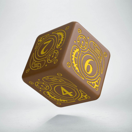 D6 Steampunk Brown & yellow Die