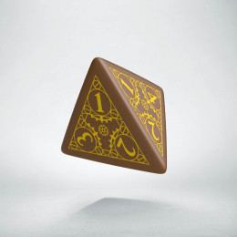 D4 Steampunk Brown & yellow Die (1)