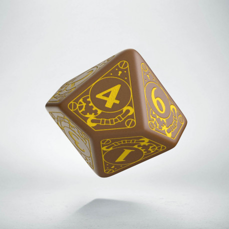 D10 Steampunk Brown & yellow Die